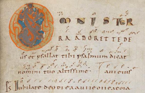Einsiedeln, Stiftsbibliothek, Codex 121(1151), p. 57 – Graduale – Notkeri Sequentiae (http://www.e-codices.unifr.ch/de/list/one/sbe/0121)
